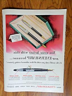 1951 Eversharp Fountain Pen Ad  All These Advanced Writing F
